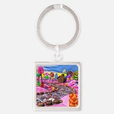 Pink Candyland Square Keychain
