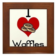 I love-heart waffles Framed Tile