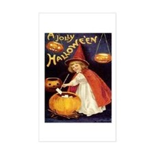 Halloween Greetings Vintage Girl Witch Decal