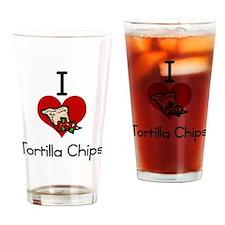 I love-heart tortilla chips Drinking Glass