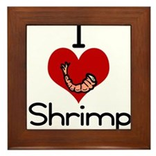 I love-heart shrimp Framed Tile