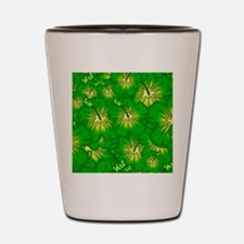 Green hibiscus Shot Glass