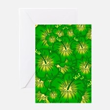 Green hibiscus Greeting Cards