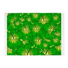 Green hibiscus 5'x7'Area Rug