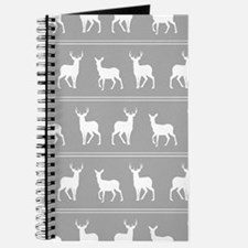 White Deer and Stag pattern on Grey Journal