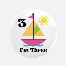 "Sailboat Girls Sailing Birthday 3.5"" Button"