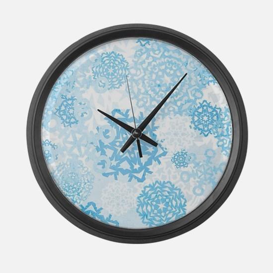 Grunge Snowflakes Large Wall Clock