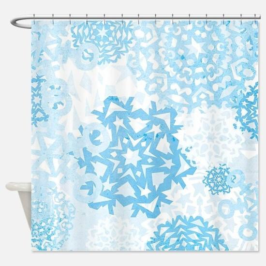 Grunge Snowflakes Shower Curtain