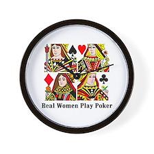 Real Women Play Poker Wall Clock
