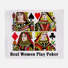 Real Women Play Poker Throw Blanket