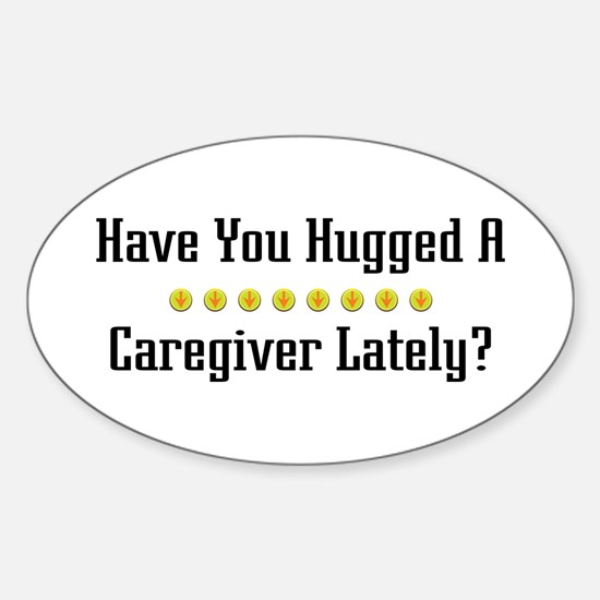 Hugged Caregiver Oval Decal