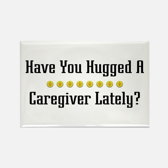 Hugged Caregiver Rectangle Magnet