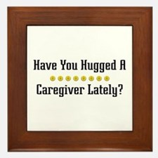 Hugged Caregiver Framed Tile