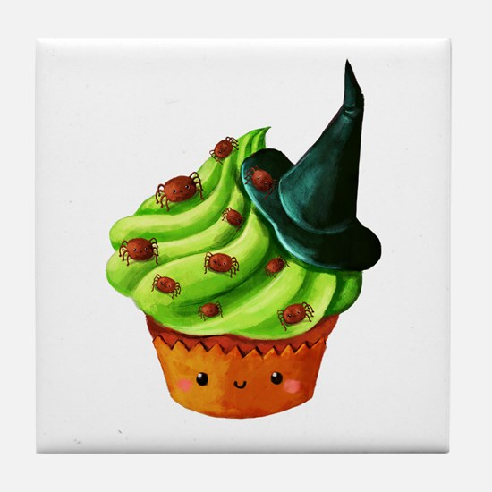 Green Halloween Cupcake Tile Coaster
