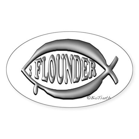 Flounder Symbol Oval Sticker