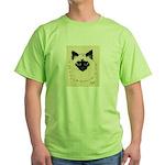 Blue Eyed Kitten Green T-Shirt