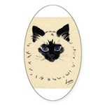 Blue Eyed Kitten Oval Sticker