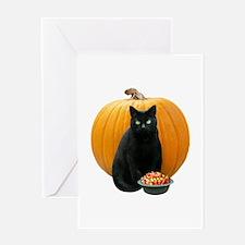 Black Cat Pumpkin Greeting Card