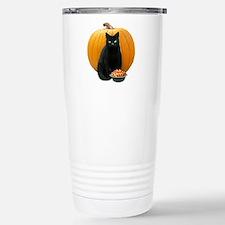 Black Cat Pumpkin Stainless Steel Travel Mug