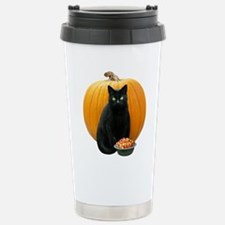 Black Cat Pumpkin Travel Mug