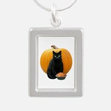 Black Cat Pumpkin Silver Portrait Necklace