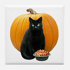 Black Cat Pumpkin Tile Coaster
