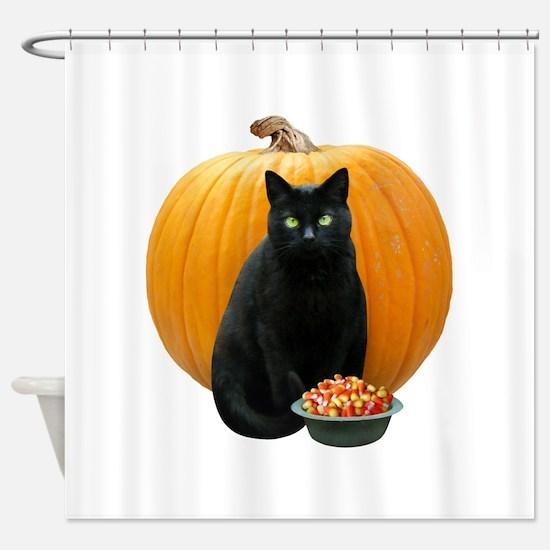 Black Cat Pumpkin Shower Curtain