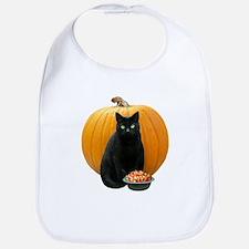 Black Cat Pumpkin Bib