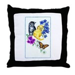 Kittens & Butterfly Throw Pillow