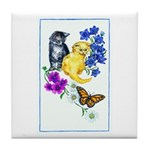 Kittens & Butterfly Tile Coaster