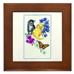 Kittens & Butterfly Framed Tile