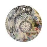 Alice in wonderland vintage Round Ornaments