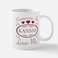 Somebody In Kansas Loves Me Mugs