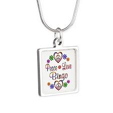 Peace Love Bingo Silver Square Necklace