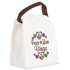 Peace Love Bingo Canvas Lunch Bag