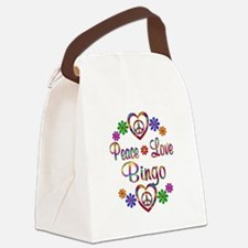Peace Love Bingo Canvas Lunch Bag