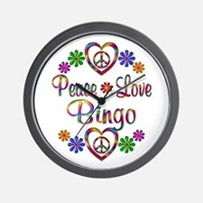 Peace Love Bingo Wall Clock