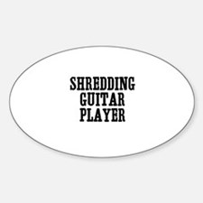 shredding guitar player Oval Decal