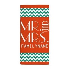 Mr. and Mrs. Chevron Stripes Beach Towel