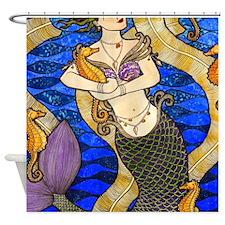 Seahorse Mermaid Shower Curtain
