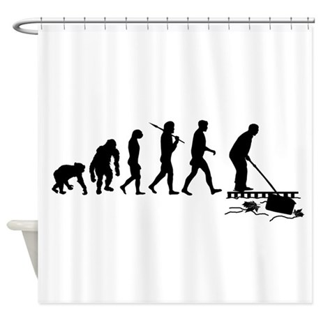 Pool Cleaning Man Shower Curtain by culturegraphics