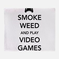 Smoke Weed And Play Video Games Throw Blanket