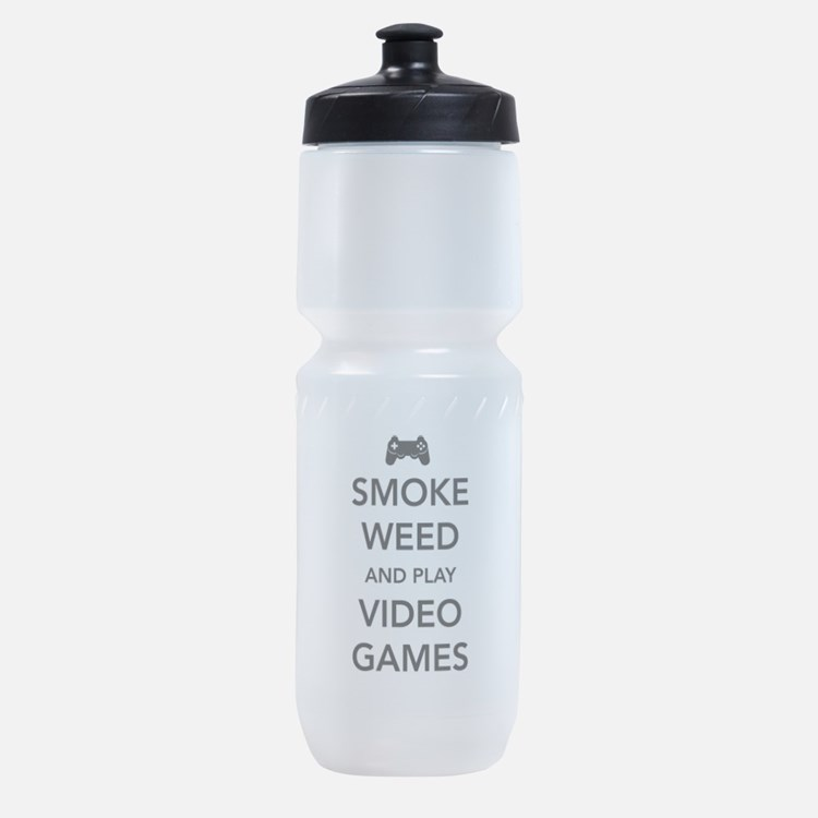Smoke Weed And Play Video Games Sports Bottle