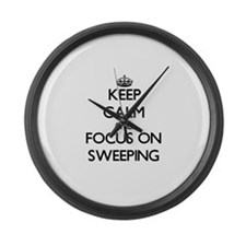 Keep Calm and focus on Sweeping Large Wall Clock