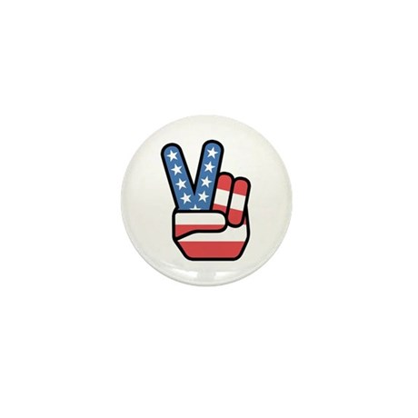 Patriotic Peace Sign Mini Button