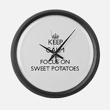 Keep Calm and focus on Sweet Pota Large Wall Clock