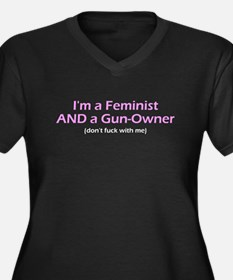 Gun-Owning Feminist Women's Plus Size V-Neck Dark