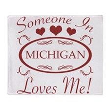 Somebody In Michigan Loves Me Throw Blanket