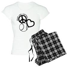PEACE-LOVE-SOFTBALL Pajamas