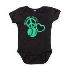 PEACE-LOVE-SOFTBALL Baby Bodysuit